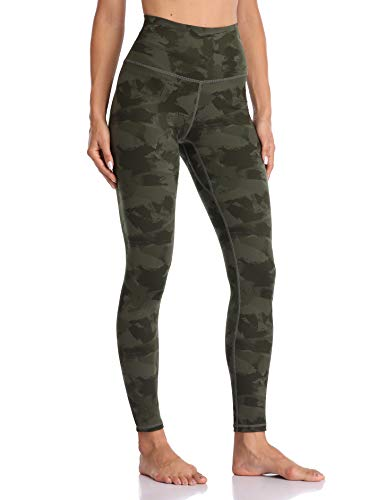 Colorfulkoala Women's High Waisted Pattern Leggings Full-Length Yoga Pants (M, Army Green Splinter Camo)