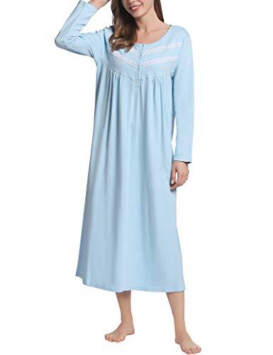 Joyaria Nachthemd Damen Langarm Nachthemden Lang Schlafkleid Baumwolle Hauskleid Leicht Nachtgewand(Blau,S)