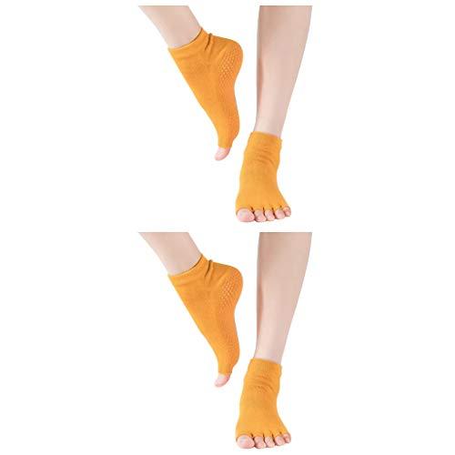 cinnamou 2 Paar Yoga Socken Ballettsocken Tanzende Socken Rutschfeste Socken Damen Toe Sox Zehensocken mit 5 Zehen Kickboxing Pilates 5 Finger Socken Anti Rutsch Socken Damen Ballett Bodensocken