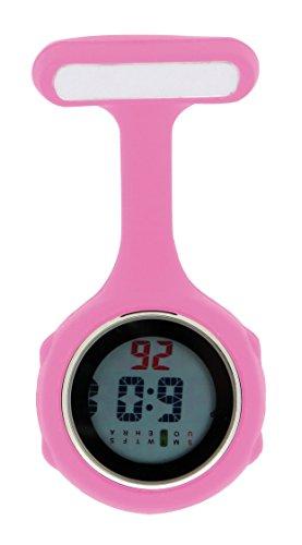 Ellemka - Krankenschwestern Pfleger Chefs | Digitale Anzeige Ansteckuhr Taschenuhr | Digitales Quarzuhrwerk | Hängeband aus Silikon mit Pinnadel | NS-888 - Pink Rosa Geschenkbox