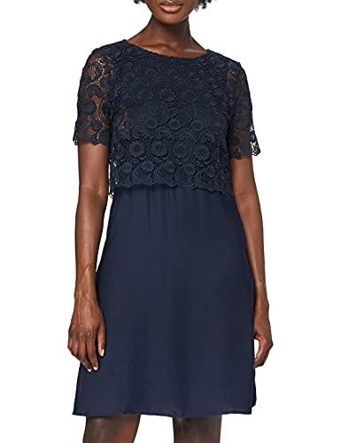 ESPRIT Maternity Damen Dress WVN Mix Nursing ss Kleid, Blau (Night Blue 486), 44