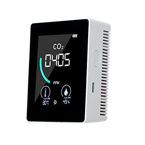 KKmoon CO2 Messgerät, Kohlendioxid Detektor 400-5000 ppm, Halbleiter CO2 Melder LCD Display Luftqualitätsmonitor für Innenräumen und Auto Weiß