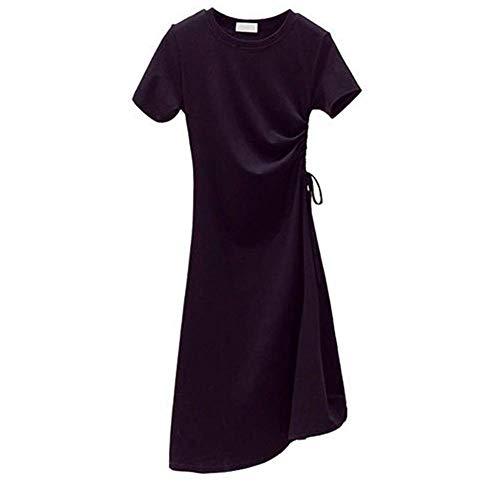 Huaheng Vrouwen O Hals Korte Mouw Trekkoord Midi T-Shirt Jurk voor Zomer 3XL Zwart