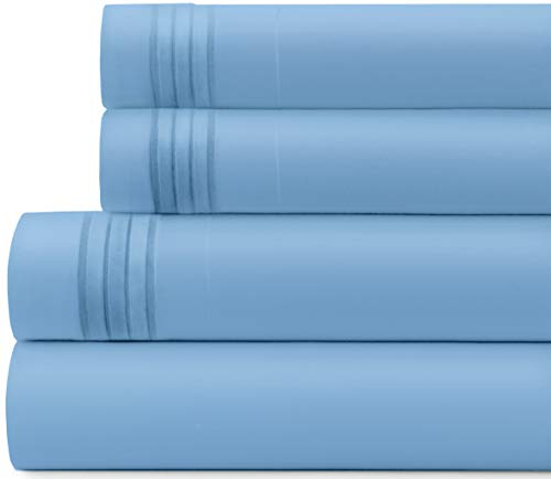 Briarwood Home Bed Sheet Set – Brushed Microfiber 1900 Premium Quality Soft Fabric Breathable Bedding – Wrinkle, Fade & Shrinkage Resistant 4 Piece Sheets (Queen/Light Blue)