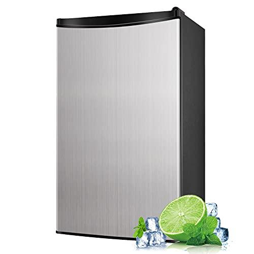 Compact Refrigerator, 3.2 Cu.Ft Mini Fridge with Freezer, Single Door, Energy Saving, Low Noise, Low-frost Mini Fridge for Bedroom, Office, RV or Dorm with Crisper Drawer, Silver - MVSFR321