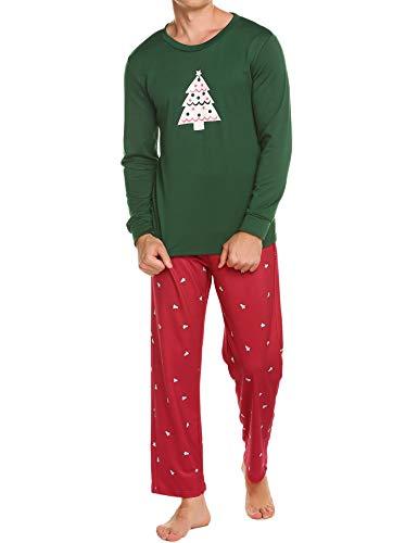 Ekouaer Sleepwear Mens Long Sleeve Pjs Top and Bottoms Plus Size Night Wear Soft Christmas Pajama Set(Green,XXL)