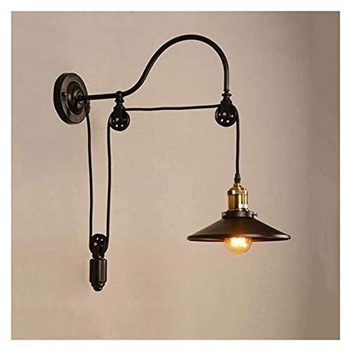 CMMT lámpara de Pared Lámpara de Pared Americana de Estilo Vintage de Hierro Industrial con polea Lámpara de Pared para Restaurante, Bar, café Internet, iluminación de Pasillo con Espejo
