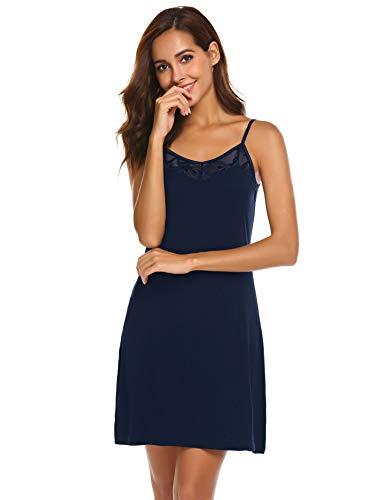 Avidlove Damen Satin Nachthemd Kurz Negligee Kurzarm Nachtkleid Nachtwäsche Sleepwear Sleepshirt V Ausschnitt, Blau, Gr. XXL/48