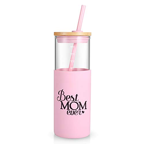 tronco Best Mom Ever Over Fabulous 24 OZ Glass Tumbler For Her Birthday Present | Glass Tumbler With Silicone Sleeve &Straw BPA free