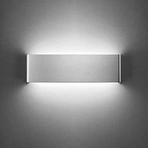XIAJIA- 12W LED Aplique Pared Interior,Moderna Apliques de Pared,Moda Agradable Luz de Ambiente, perfecto para Lámpara de Decoración para, Longitud 30cm,aluminio cepillado/Blanco frío