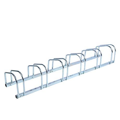 Supporto da Pavimento per Bicicletta Parcheggio Bici, Supporto da Parcheggio per Bici Supporto da 6 Portabici per Garage da Interno Esterno Facile da Installare (Argent)