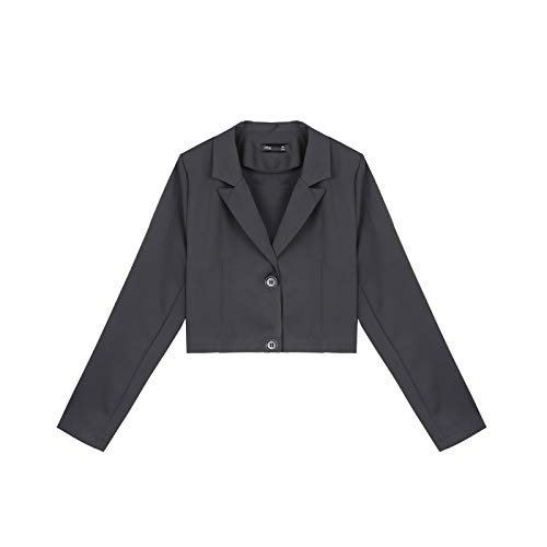 NZYQXGL Anzug Jacke Weiblich Frühherbst Net Rot Wild Retro Kurzmantel Britischen Wind Drapieren Mode Hosenanzug Flut Dunkelgrauer Mantel S