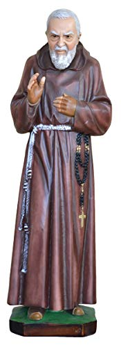 Generico Statua San Padre pio cm. 80 in Resina Adatto per Ambienti Interni ed Esterni Made in Italy (Occhi di Vetro)
