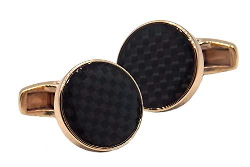 Cufflinks Direct Gemelli Regalo da Uomo in Oro Rosa e Fibra di Carbonio Nera (Gemelli con Confezione Regalo)