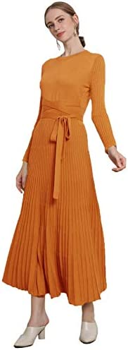 RanRui Long Sweater Dress Women s Cashmere Autumn and Winter Dress Crew Neck Long Sleeved Knit product image