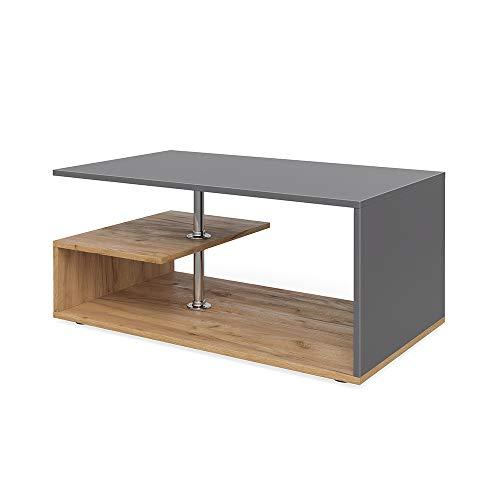 tavolino da salotto rovere Vicco Tavolino da divano Guillermo Tavolino da salotto Antracite Rovere Sabbia 91x52