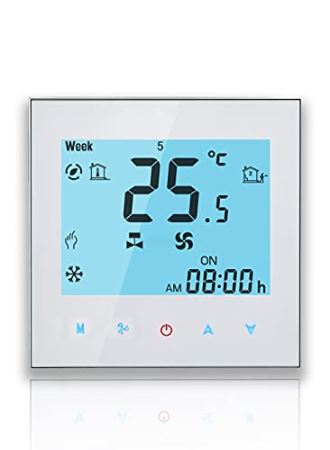 BecaSmart Serie 1000 Thermostat Zwei Röhren für Klimaanlage Fan Coil der weißen Hintergrundbeleuchtung mit Wifi-Verbindung für Unterstützung Intelligent Voice (Zwei Röhren, Weiß(WIFI))