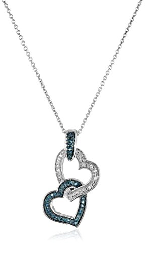 Jewelili Sterling Silver with 1/6 CTTW Blue and White Diamond Double Heart Pendant Necklace , 18' Rolo Chain