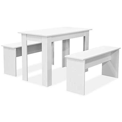 vidaXL Essgruppe 3-TLG. Spanplatte Weiß Tisch Bänke Sitzgruppe Esstisch Esszimmertisch Tischset Esszimmermöbel Esszimmerbank Küchenbank