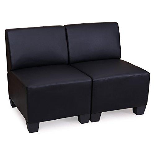 Modular 2-Sitzer Sofa Couch Lyon, Kunstleder - schwarz, ohne Armlehnen