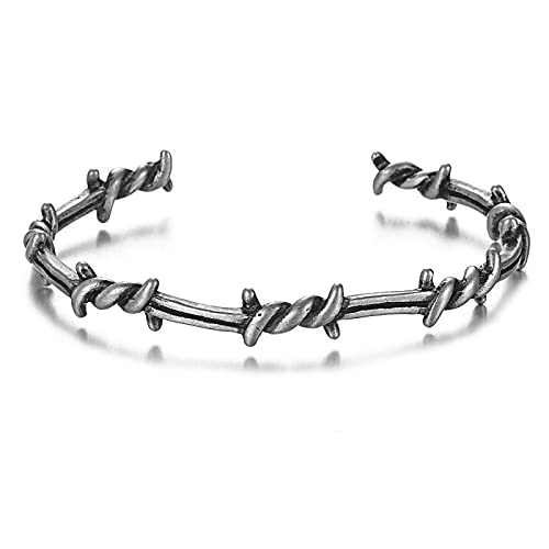 ShZyywrl Armband Männer Armreif Offene Manschette Twist Thorns Draht Titan Stahl Geometrisches Armband Offene Manschette Stacheldraht Armreifen