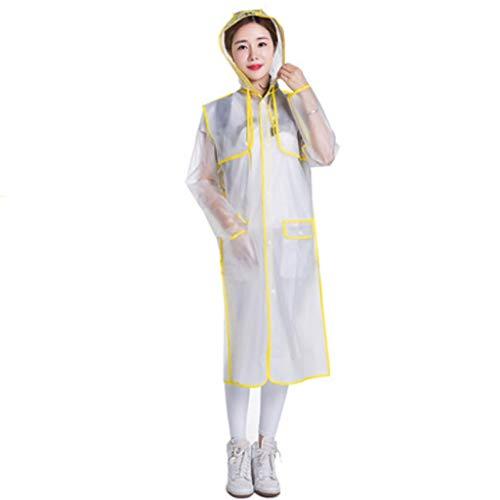 Glzcyoo Transparant waterdichte regenjas, beschermend pak, Eva lichtgewicht regenjas, waterdichte regenjas, outwear, reizen, regen met capuchon, transparant, veelzijdig voor mannen en vrouwen