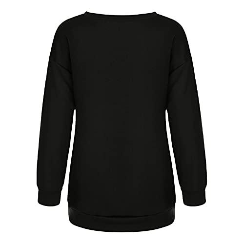 Qtinghua Women Halloween Graphic Sweatshirts Pumpkin Skull Printed Long Sleeve Pullover Tops Fall/Winter Y2K Streetwear (Black, Small)