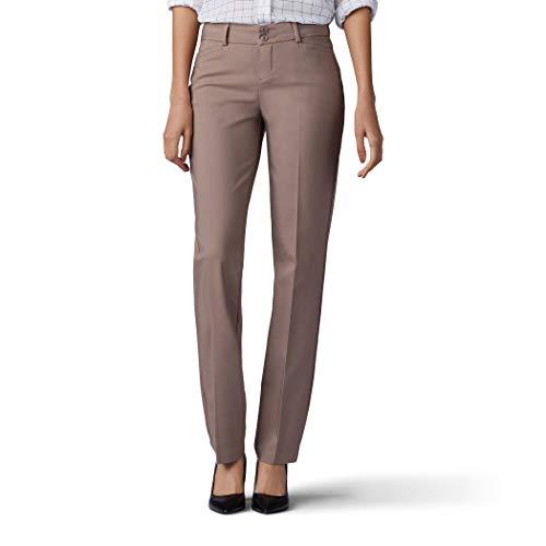 Lee Women's Secretly Shapes Regular Fit Straight Leg Pant, Light Fawn, 12