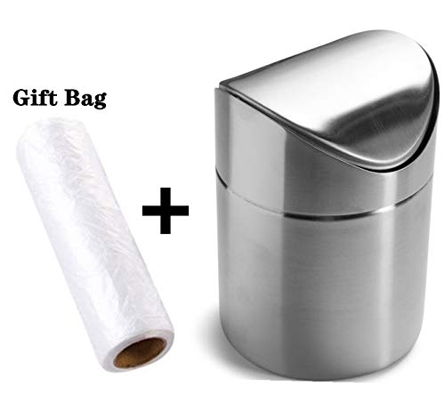 Mini Countertop Brushed Stainless Steel Swing Lid Trash Can Set, Come with Trash Bag, 1.5 L / 0.40 Gal, 3 Color Options, Silver