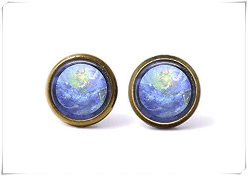Pendientes de Tuerca con diseño de Tierra de Sirena de mar, joyería Espacial, joyería del Planeta, aretes de Galaxia, joyería de Cristal cúpula, Hechos a Mano.
