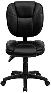 Flash Furniture Mid-Back Black Leather Multifunction Swivel Ergonomic Task Office Chair with Pillow Top Cushioning