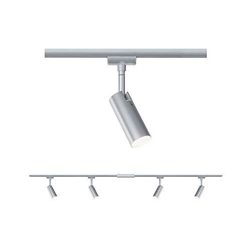 Paulmann Set LED Sistema de rieles URail Tubo, giratoria, Spot 4 Llamas, lámpara de Techo Cromado, 3000K Blanco cálido, 5 W, 20 W, Cromo mate, Cromo