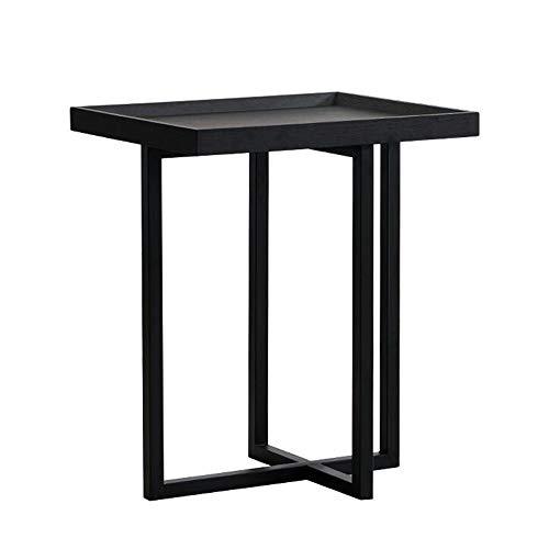 Jcnfa-side tafel Italiaanse industriële carbon stalen frame, Vierkante lade bijzettafel, Gerookte kleine salontafel, Sofa bijzettafel, Wood Look Meubilair met metalen frame