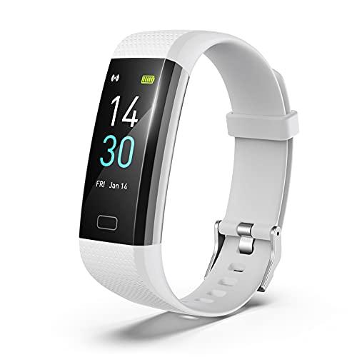 GUJIN Fitness Armband mit Pulsmesser Fieberthermometer Wasserdicht IP68 Fitness Tracker Smartwatch Aktivitätstracker Pulsuhr Schrittzähler Uhr Sportuhr Anruf SMS SNS Beachten für iPhone Android