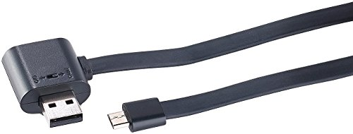 Callstel USB Adapterkabel Micro USB Lade Daten Flachkabel mit durchgeschleiftem USB Port OTG USB Anschluskabel