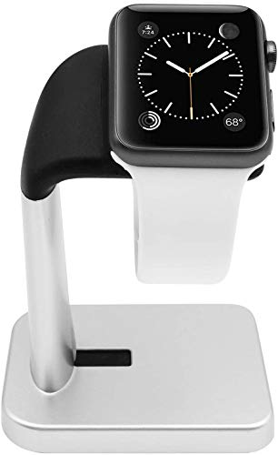 Macally Apple Watch Stand for iWatch - The Perfect Nightstand Charging Dock Station - Compatible with Smartwatch Series 1-6 (44mm, 42mm, 40mm, 38mm) (Silver)