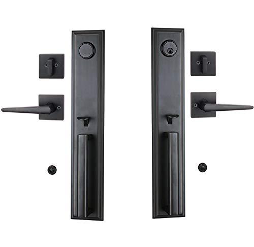 Double Door Handle Lockset, Keyed Entry Handleset and Inative Dummy Handleset, Key-Alike,Front Exterior Door Lever Handle Lock Oil Rubbed Bronze Finished
