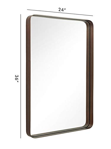 ANDY STAR Bronze Rectangular Wall Mirror | 24x36'' Contemporary Stainless Steel Metal -