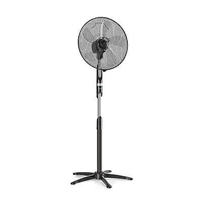 "Klarstein Summer Vibe - Stand Fan, Tower Fan, Pedestal Fan, 16"" (41 cm), 55 W, 2040m³ / h, Switchable Oscillation 65 °, 3 Speed Levels, Height Adjustable, Black"