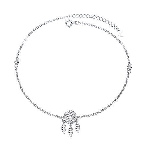 Belons Women Ankle Bracelet S925 Sterling Silver Cubic Zirconia Dream Catcher Anklet Girls Charm Ankle Bracelet Adjustable Foot Chain