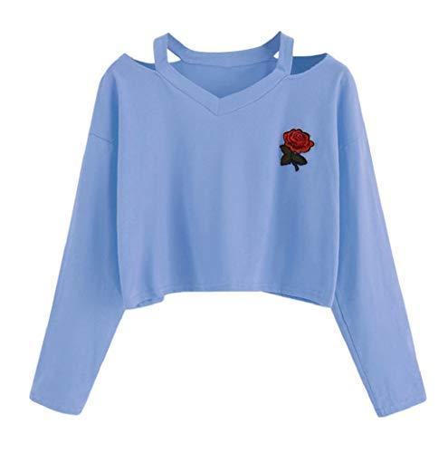 TWBB Damen Frauen Mode V-Ausschnitt Cut Out Pullover Kurz T-Shirt Rose Stickerei Sport Hoodie Sweatshirt Langarm Crop Tops Bluse Shirt S-XL