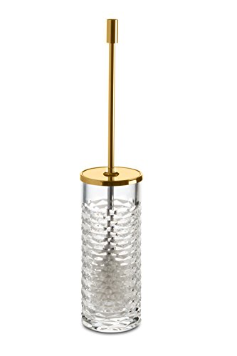 Luxe redonda De Pared Para inodoro cepillo limpiador de W/tapa y soporte de cuenco, cristal soplado a mano