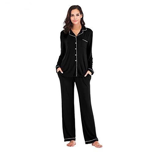 OCCIENTEC Pyjama für Damen Langarm Damen Schlafanzug mit Knopfleiste Nachtwäsche PJ Set mit Langarm Shirt Zweiteiliger Nachtwäsche Hausanzug(Schwarz, XL)