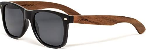 Sunglasses for Men and Women with Walnut Wooden Legs and Polarised Lenses GOWOOD