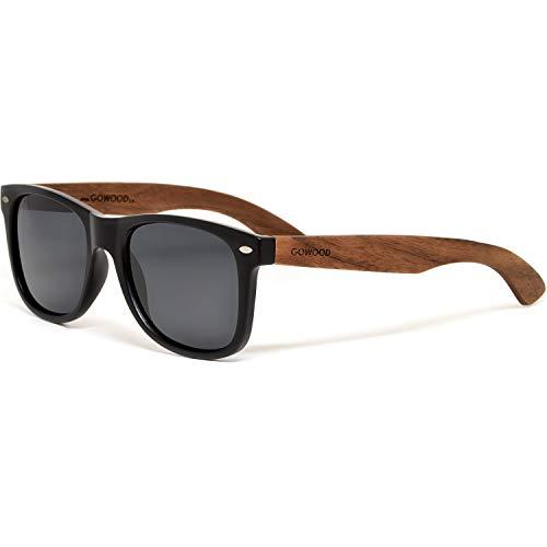GOWOOD Gafas de sol de madera de nogal para hombre y mujer con frontal negro mate y lentes polarizadas oscuras