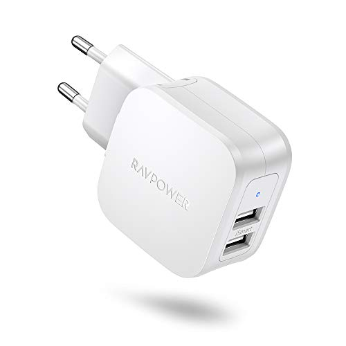 RAVPower USB Ladegerät 2 Port USB Netzteil 17W 3.4A USB Ladeadapter mit iSmart Technologie für iPhone 11 Pro Max XS XR X, iPad, Galaxy S9 S8 Plus Note, Nexus, Huawei, Kamera, Handy, Tablette, MP3 usw.