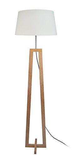 Tosel 51169lámpara de pie 1luz, madera, E27, 40W, color blanco, 40x 155cm