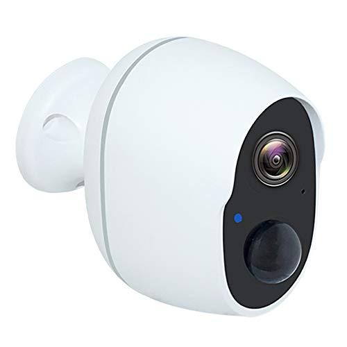 LHNEREGLHNEREG Cámara CCTV IP Inalámbrica con Batería 1080P, Monitor De Audio Bidireccional Recargable De Seguridad Impermeable Al Aire Libre, Blanco,32G