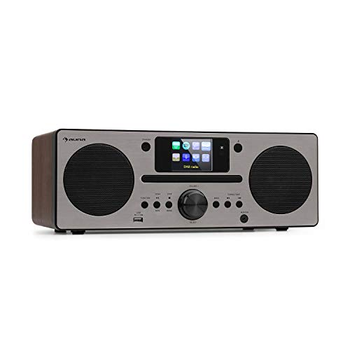 auna Harvard IR Kompaktanlage - Internet-/DAB+ und UKW-Radio, CD-Player, Spotify Connect, Bluetooth, 2,4