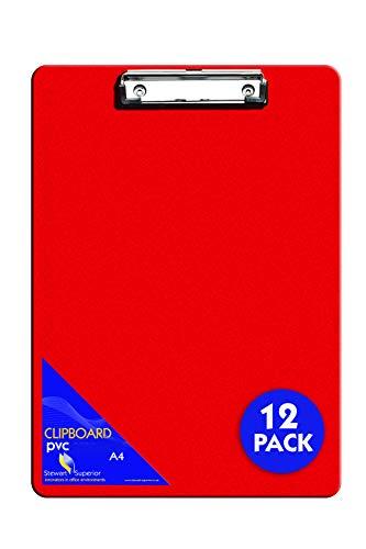 Stewart Superior A4+ PVC beschichtetes Klemmbrett mit Hochleistungsklammer - Rot (12er Pack)